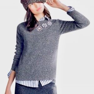 J. CREW JEWELED LAMBSWOOL DONEGAL SWEATER GRAY M